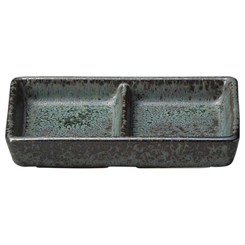 04401-110 緑窯変釉二つ仕切り皿|業務用食器カタログ陶里30号