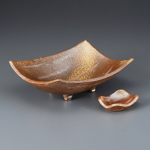 06601-180 手造り備前風角尺一盛鉢|業務用食器カタログ陶里30号