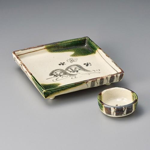 06603-120 織部水車四方刺身鉢|業務用食器カタログ陶里30号