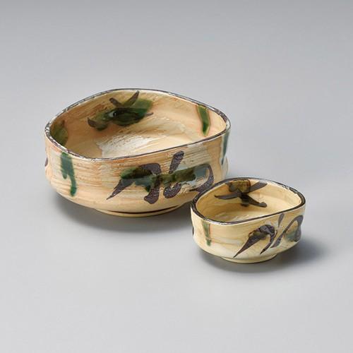 06609-120 黄瀬戸風オリベ刺身鉢|業務用食器カタログ陶里30号