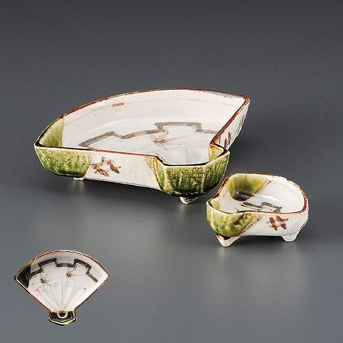 06701-120 織部扇面刺身鉢|業務用食器カタログ陶里30号