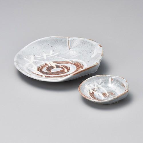 07840-180 銀志野芦(土物)ざる形3.0小鉢|業務用食器カタログ陶里30号