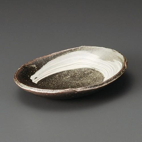 08502-430 刷毛目7.0楕円皿(中) 業務用食器カタログ陶里30号