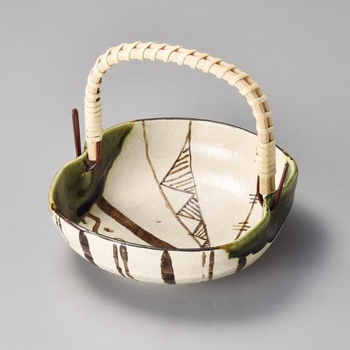 08507-460 手造織部(手付)まゆ形刺身鉢 業務用食器カタログ陶里30号