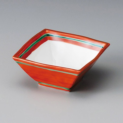 13002-300 赤巻4.0正角小鉢|業務用食器カタログ陶里30号