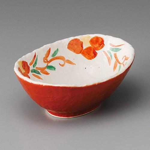 13214-180 朱巻唐草花楕円鉢|業務用食器カタログ陶里30号