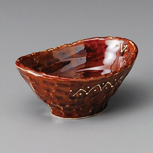 13227-030 一珍アメ釉船小鉢|業務用食器カタログ陶里30号