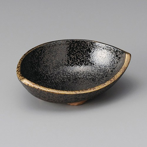13406-460 黒ちらし口金4.5半月形丼|業務用食器カタログ陶里30号