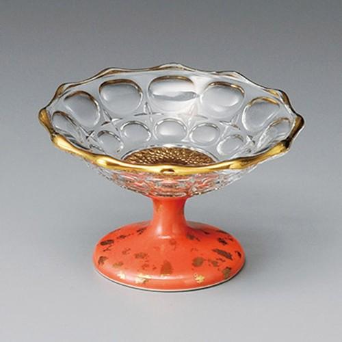 14008-220 ガラス高台4.0鉢(ピンク)|業務用食器カタログ陶里30号