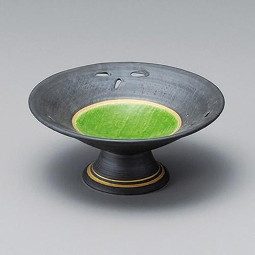 14014-330 鉄砂緑交趾笹透し高台小鉢|業務用食器カタログ陶里30号
