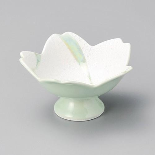 14016-400 流水ラスター桜型高台鉢(緑)|業務用食器カタログ陶里30号