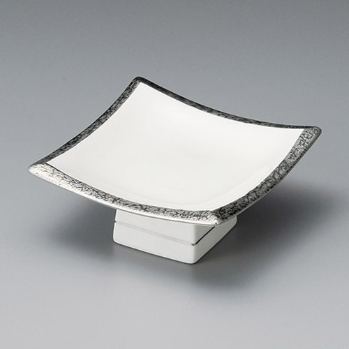 14025-300 渕プラチナ正角4.5寸高台皿|業務用食器カタログ陶里30号