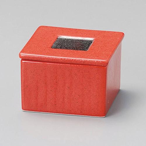 16202-010 ゆず赤結晶プラチナ角型蓋物 業務用食器カタログ陶里30号