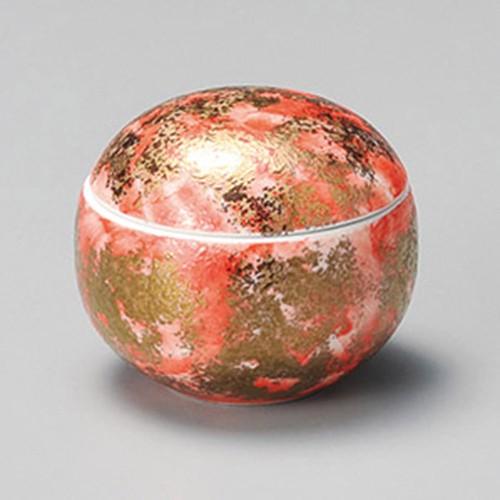 16205-010 朱赤金タタキ丸蓋物 業務用食器カタログ陶里30号