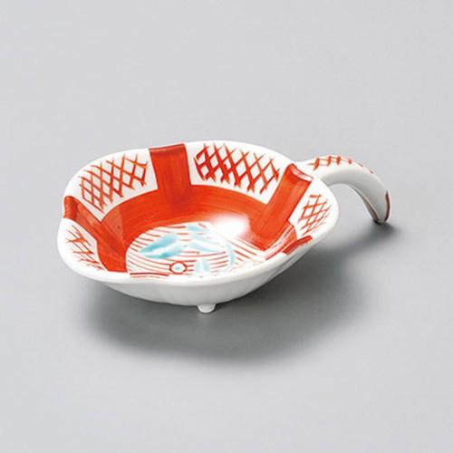16415-180 赤絵間取格子手付珍味|業務用食器カタログ陶里30号