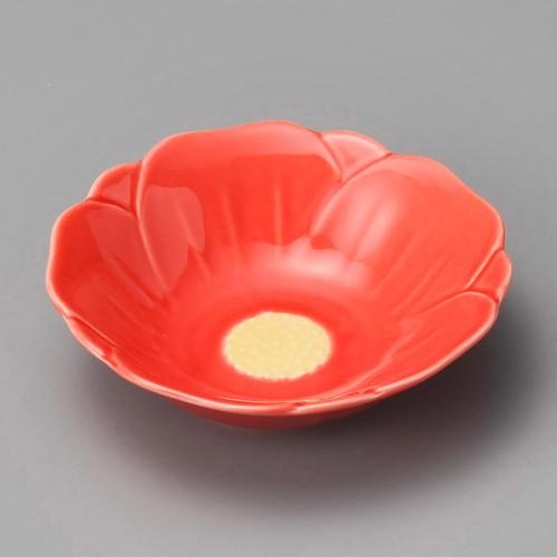 18003-180 赤釉椿花形鉢 業務用食器カタログ陶里30号
