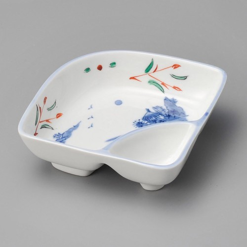 18010-080 赤絵京山水仕切鉢 業務用食器カタログ陶里30号