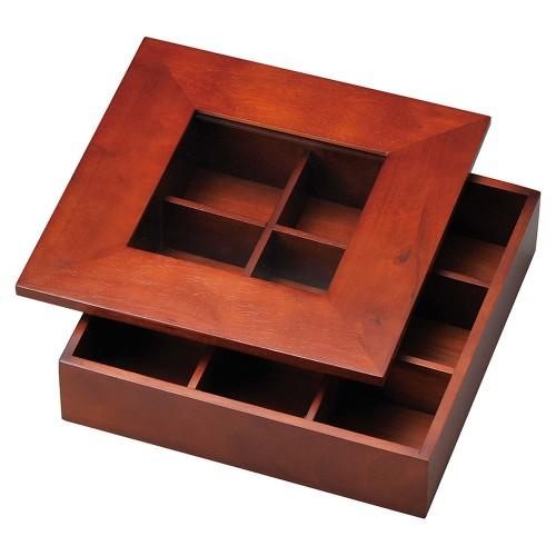 18011-110 松花堂(九ツ仕切) ブラウン 業務用食器カタログ陶里30号