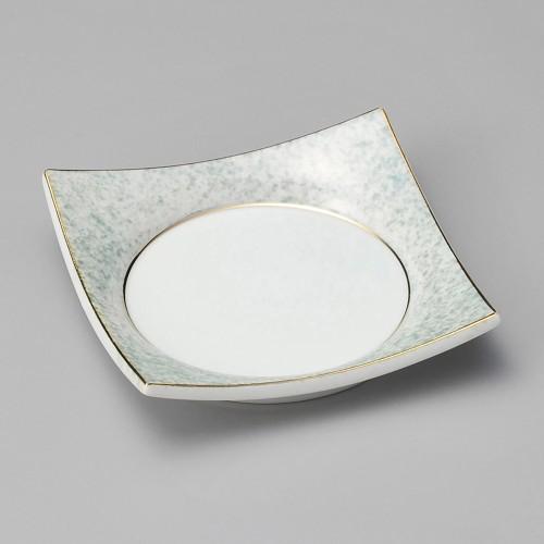 18024-080 グリーン吹四方皿 業務用食器カタログ陶里30号