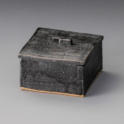 19806-180 黒オリベ正角蓋物|業務用食器カタログ陶里30号