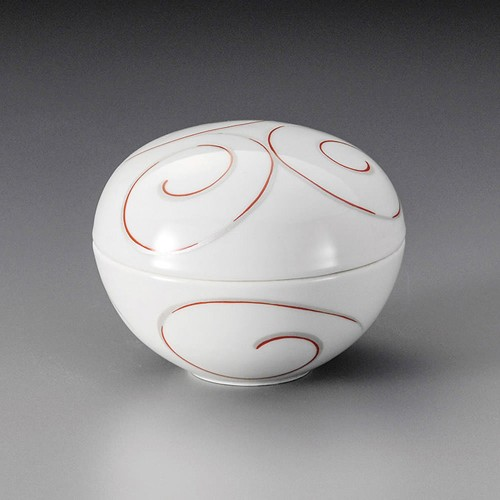 19813-460 銀彩渦紋 蓋物(赤)|業務用食器カタログ陶里30号