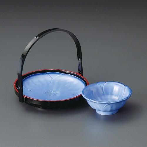 21001-220 濃コバルト手さげカゴ付天皿|業務用食器カタログ陶里30号