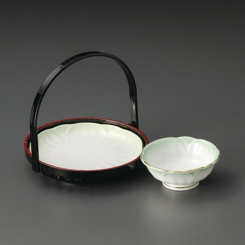 21003-220 渕金ヒワ吹梅型5.5天皿|業務用食器カタログ陶里30号