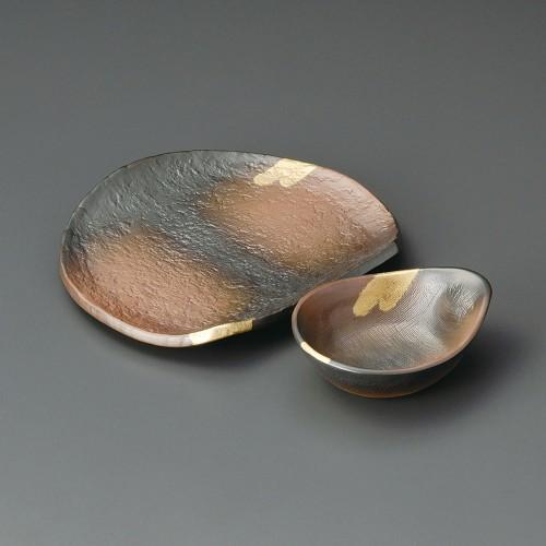 21022-450 焼締金雲7.0半月天皿(強化)|業務用食器カタログ陶里30号