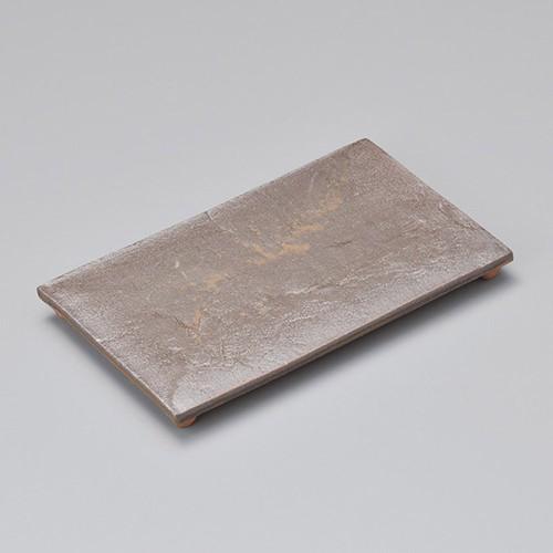 23205-100 灰流し石目四つ足長角皿(小)|業務用食器カタログ陶里30号