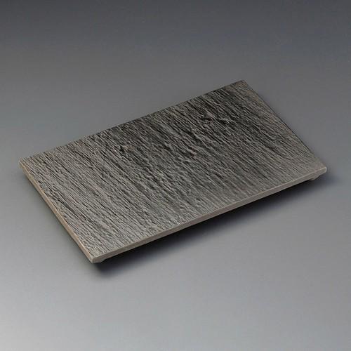 23304-100 黒陶石目四つ足長角皿|業務用食器カタログ陶里30号