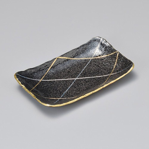 23308-460 黒ちらし金銀格子筋8.0長角皿|業務用食器カタログ陶里30号