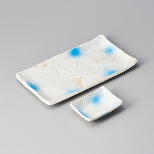 25009-410 青粉引長角小皿|業務用食器カタログ陶里30号