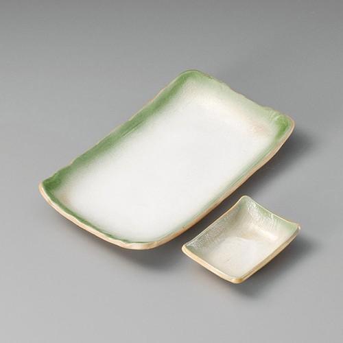 25017-410 粉引グリーン吹長角小皿|業務用食器カタログ陶里30号