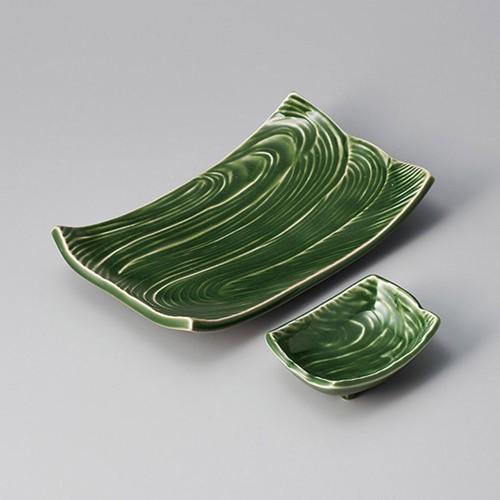 25022-310 練り抹茶流水型長角小皿|業務用食器カタログ陶里30号