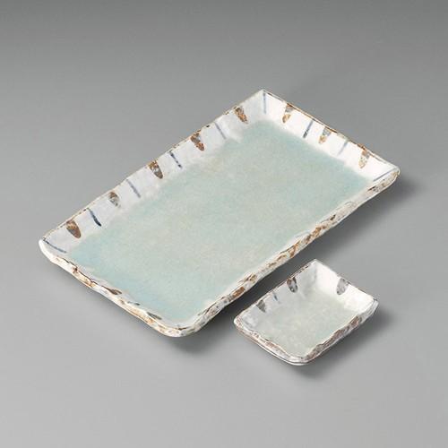 25025-310 ヒワ釉渕十草9.0長角皿|業務用食器カタログ陶里30号
