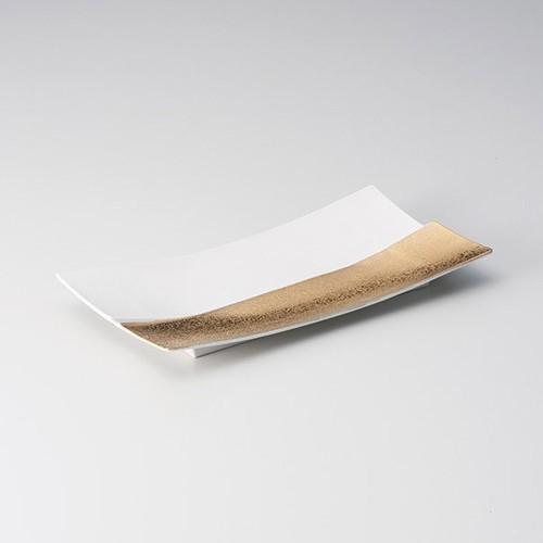 25418-100 金&白仕切菱型長角皿|業務用食器カタログ陶里30号