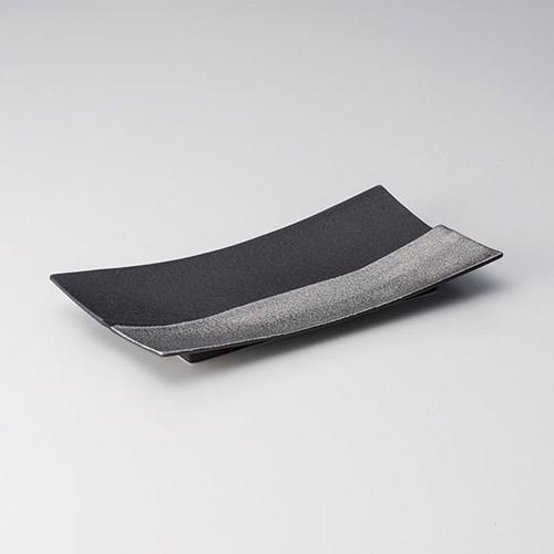 25419-100 銀&黒仕切菱型長角皿|業務用食器カタログ陶里30号
