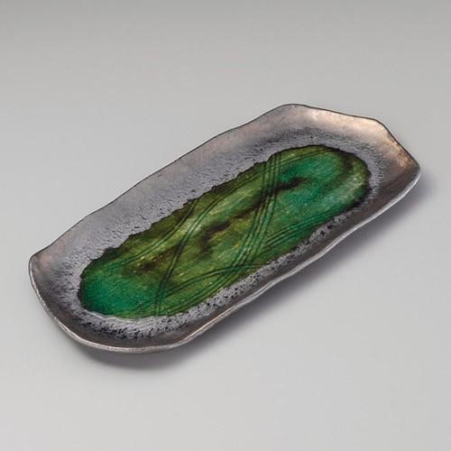 26216-100 金結晶織部流し変形ほっけ皿|業務用食器カタログ陶里30号