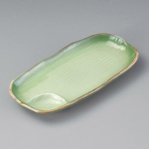 26412-310 緑彩松花堂長皿(仕切付)|業務用食器カタログ陶里30号