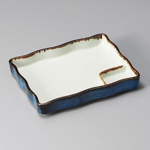 26414-280 渕サビ長角仕切皿(大)|業務用食器カタログ陶里30号