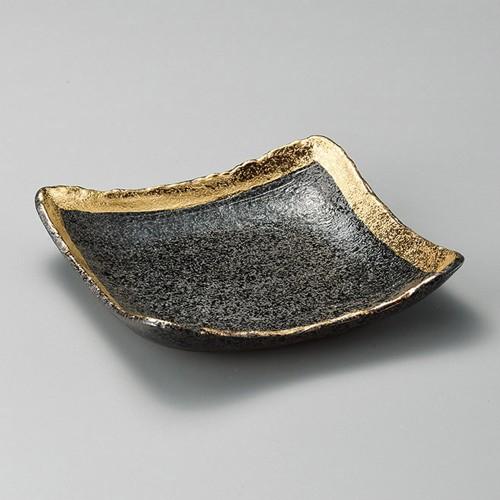 31009-460 黒ちらし渕金巻10.0正角皿|業務用食器カタログ陶里30号