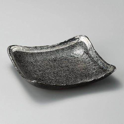 31010-460 黒ちらし渕銀巻10.0正角皿|業務用食器カタログ陶里30号