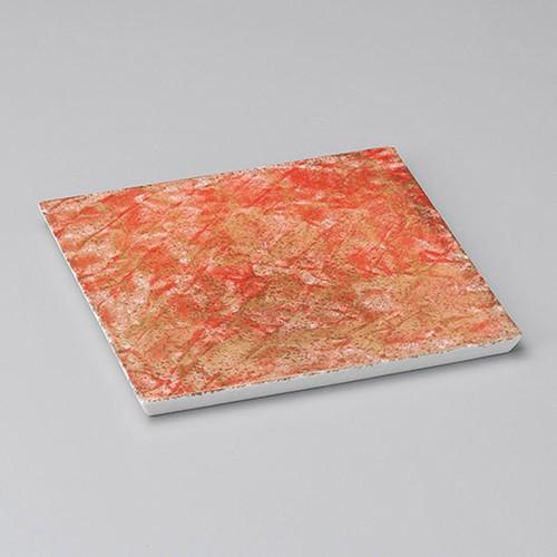 31011-010 朱赤金タタキソギ彫角皿(小)|業務用食器カタログ陶里30号