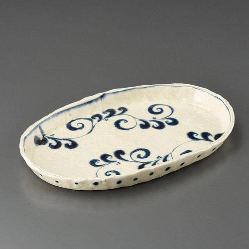 32407-180 安南花紋楕円大盛皿(手造り)|業務用食器カタログ陶里30号