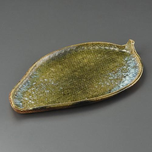 32410-430 焼〆ビードロ16.0葉形皿|業務用食器カタログ陶里30号