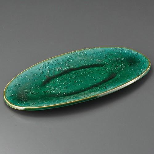 32411-430 緑釉16.5楕円皿|業務用食器カタログ陶里30号