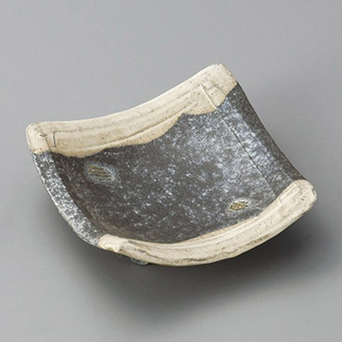 34001-430 黒窯変掛け分け足付角小皿|業務用食器カタログ陶里30号