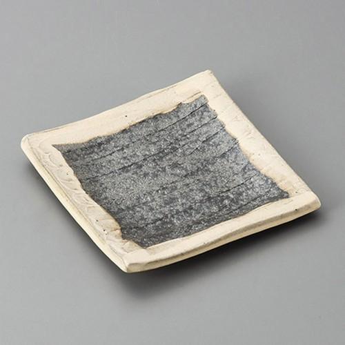 34004-430 黒窯変掛け分けソギ5.0角皿|業務用食器カタログ陶里30号