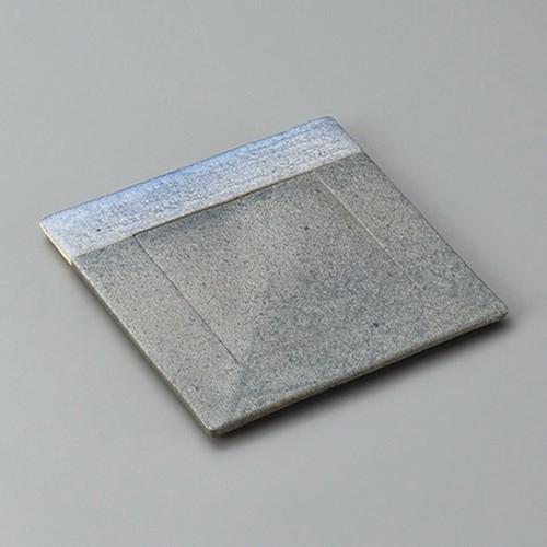 34007-430 黒窯変掛け分け4.8正角皿(ブル-)|業務用食器カタログ陶里30号