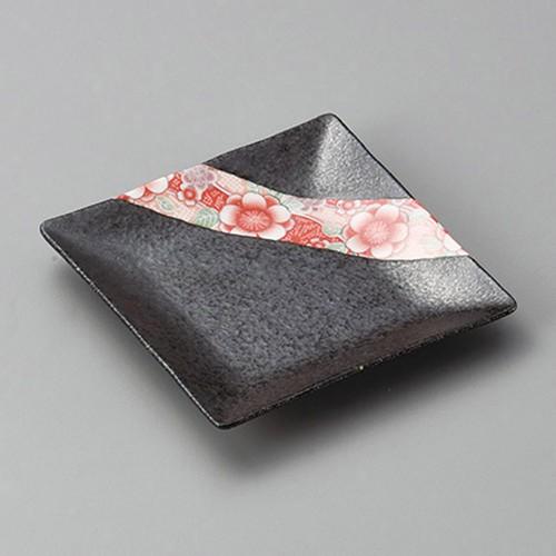 34009-330 紅染めいぶし角銘々皿|業務用食器カタログ陶里30号